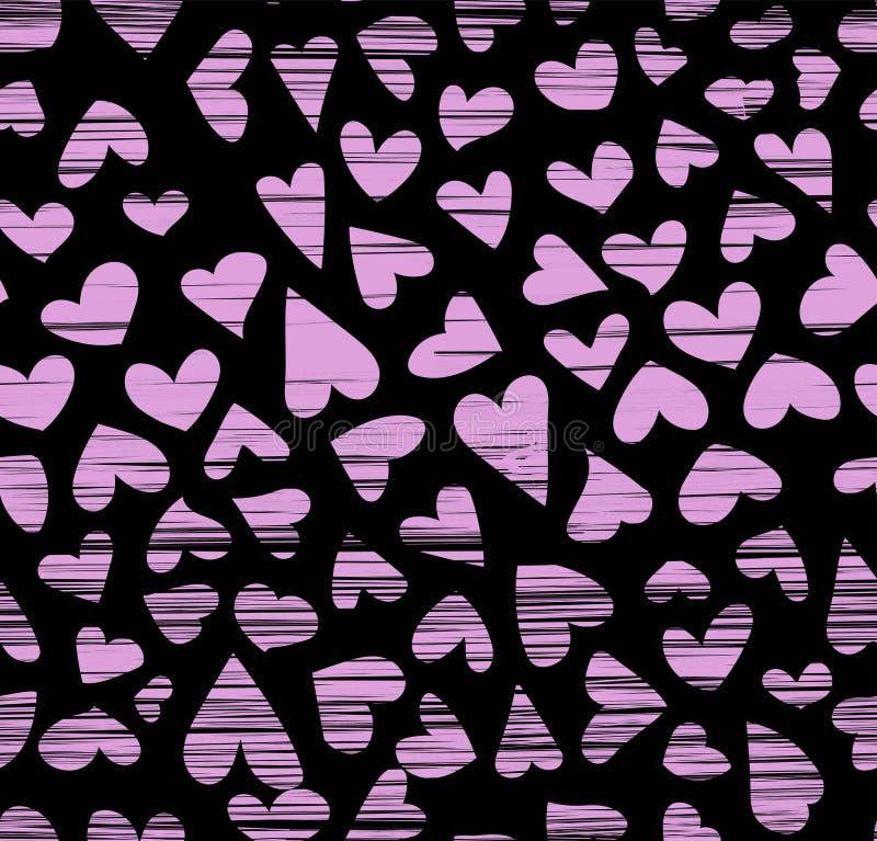 手拉的墨水心脏无缝的样式,概略artsy,书法鸟嘴图画 库存例证