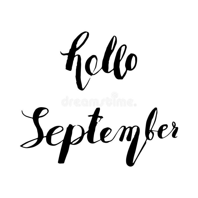 手拉的墨水字法你好9月 向量例证