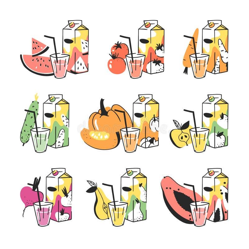 手拉的夏天套水果、蔬菜、汁液组装和玻璃 导航艺术性的例证西瓜,蕃茄,红萝卜, cucumb 皇族释放例证