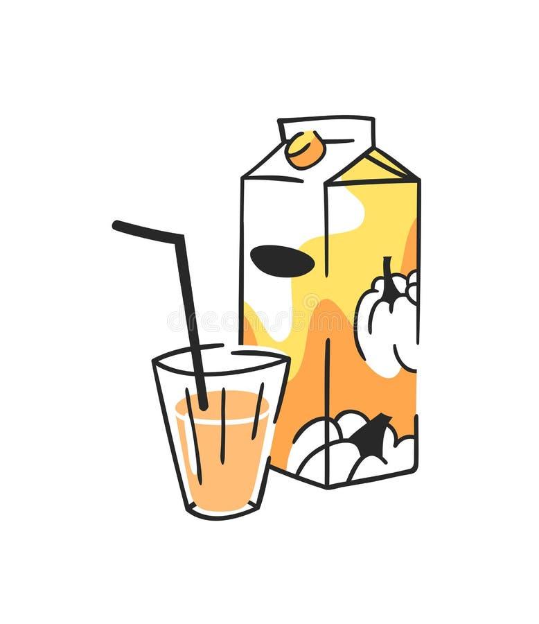 手拉的夏天套汁液组装和玻璃 传染媒介艺术性的例证南瓜饮料 库存例证