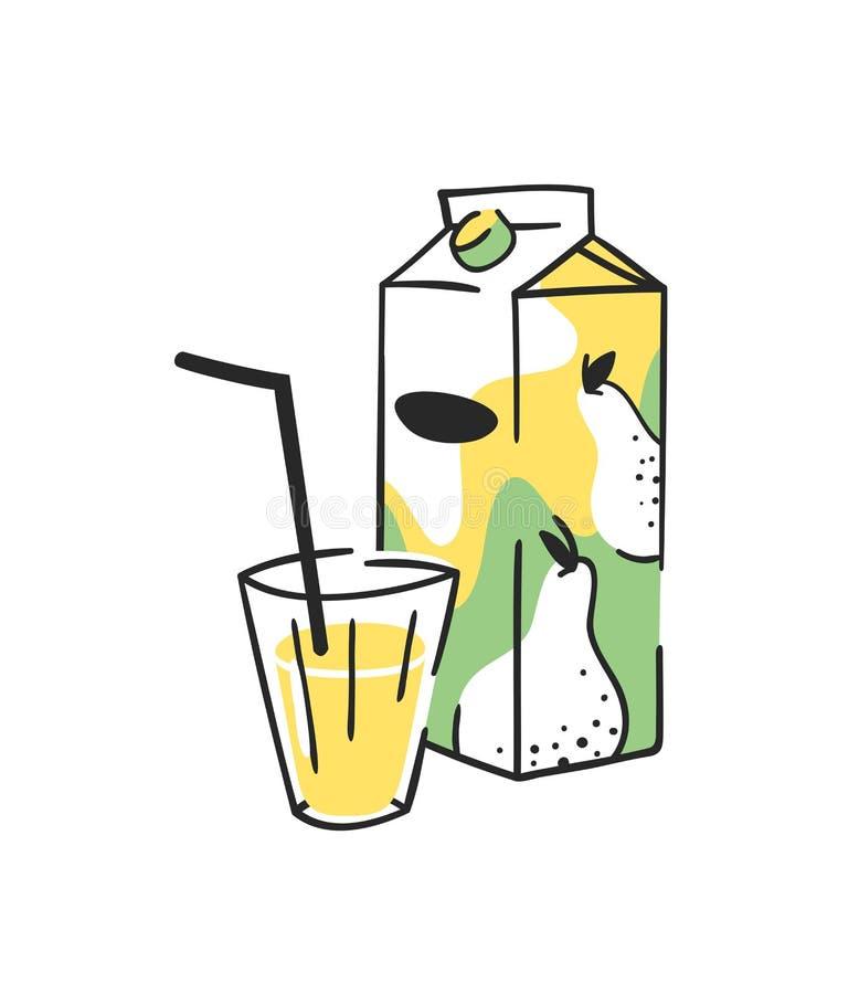 手拉的夏天套汁液组装和玻璃 传染媒介艺术性的例证梨饮料 皇族释放例证
