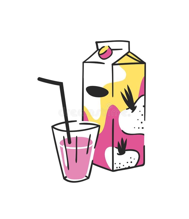 手拉的夏天套汁液组装和玻璃 传染媒介艺术性的例证甜菜根饮料 向量例证