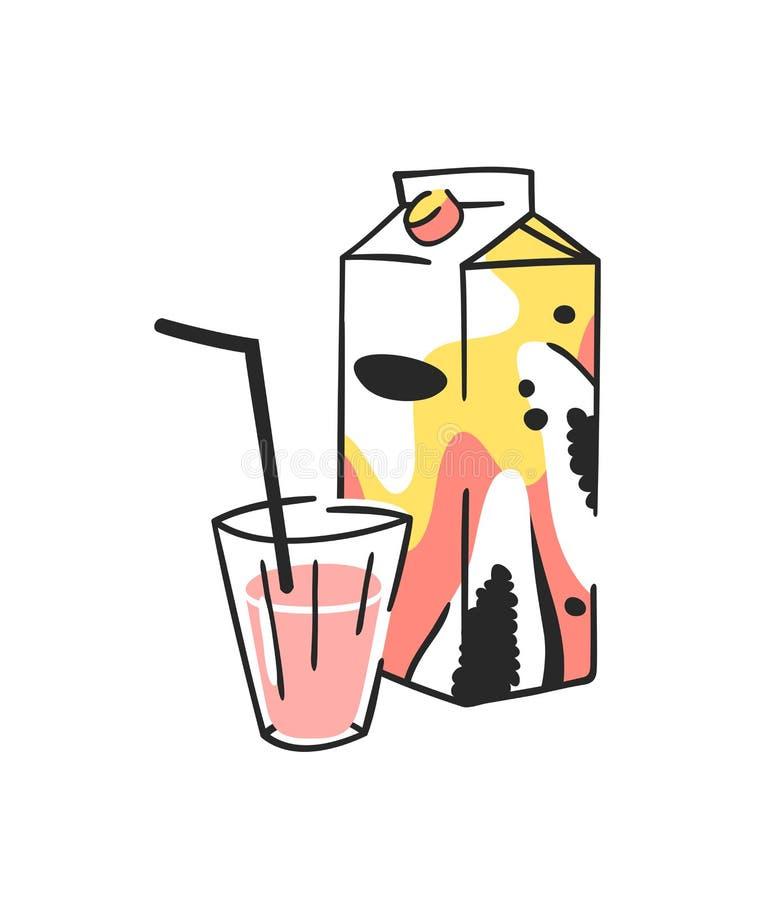 手拉的夏天套汁液组装和玻璃 传染媒介艺术性的例证番木瓜饮料 向量例证