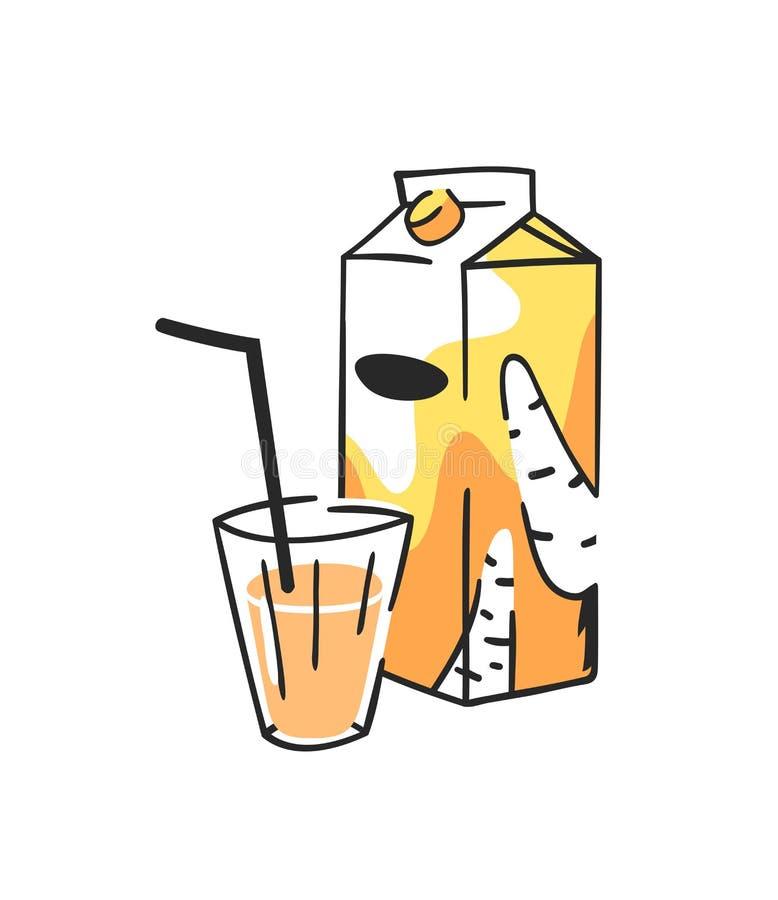 手拉的夏天套汁液组装和玻璃 传染媒介艺术性的例证红萝卜饮料 皇族释放例证