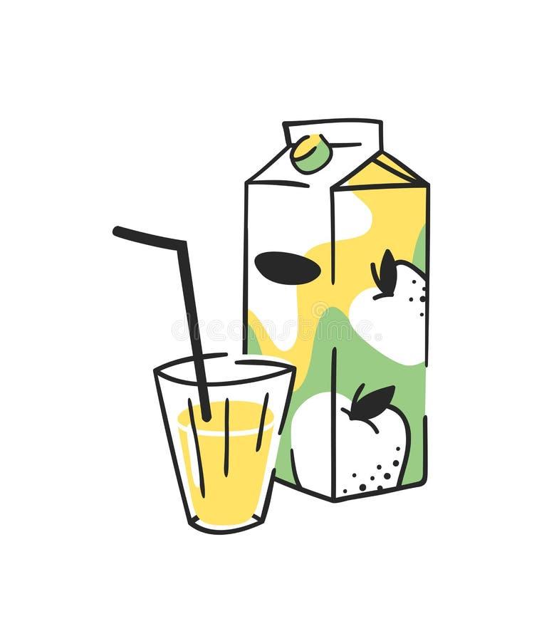 手拉的夏天套汁液组装和玻璃 传染媒介艺术性的例证苹果饮料 库存例证