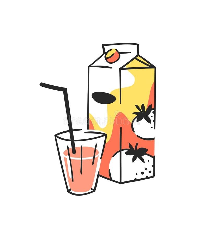 手拉的夏天套汁液组装和玻璃 传染媒介艺术性的例证蕃茄饮料 库存例证