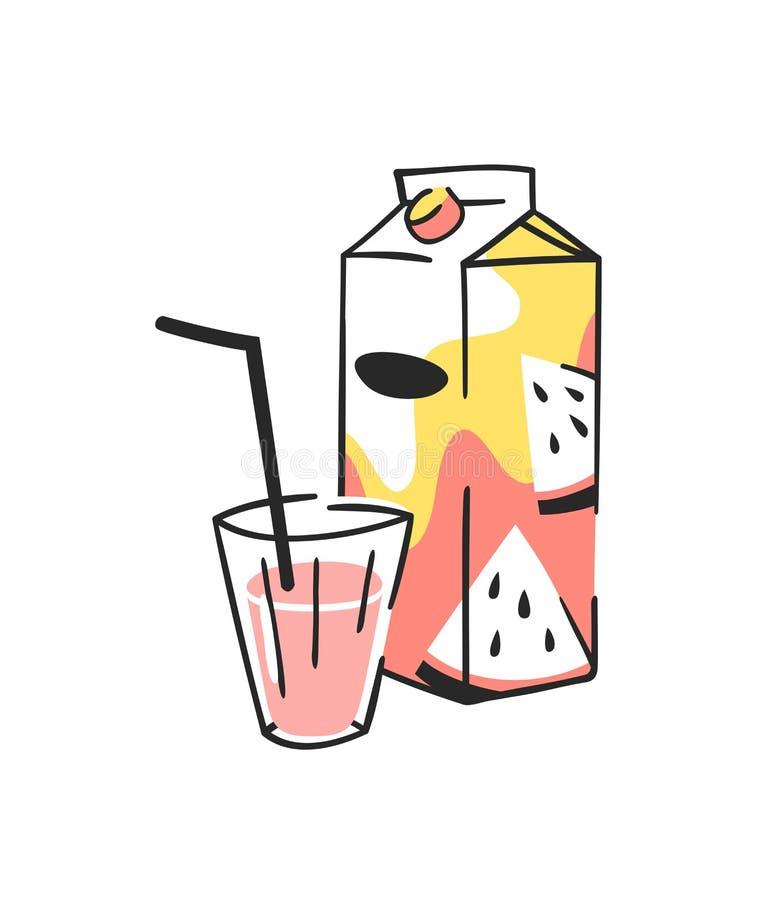 手拉的夏天套汁液组装和玻璃 传染媒介艺术性的例证西瓜饮料 皇族释放例证