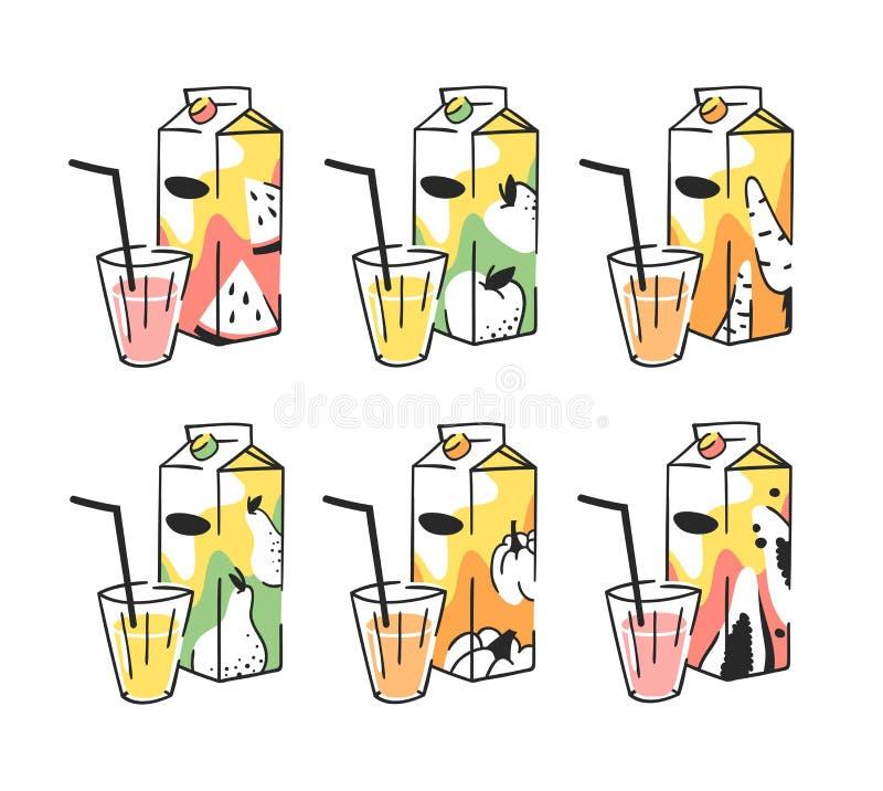 手拉的夏天套汁液组装和玻璃 传染媒介艺术性的例证饮料 向量例证