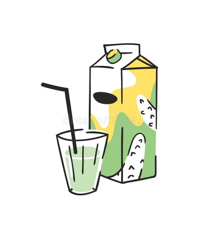 手拉的夏天套汁液组装和玻璃 传染媒介艺术性的例证黄瓜饮料 皇族释放例证