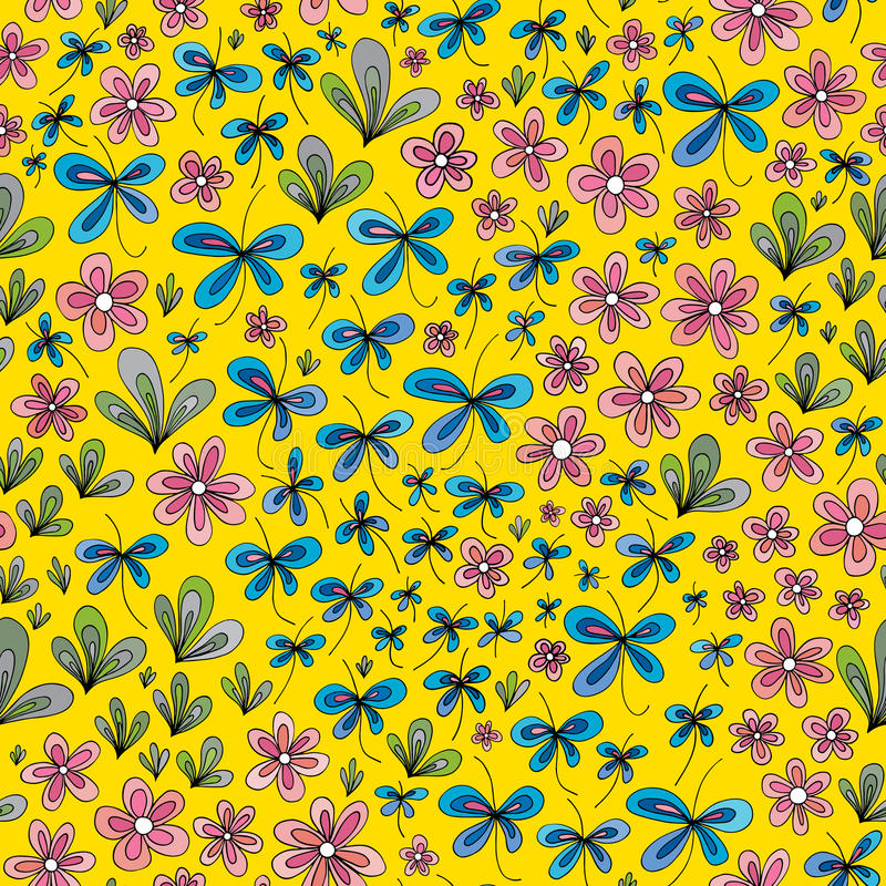 手拉的夏天花卉样式 传染媒介抽象自然无缝的背景 库存例证