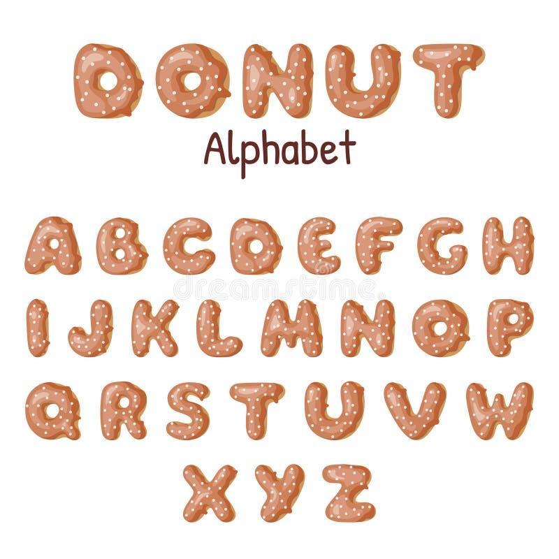 手拉的多福饼字母表 焦糖给上釉的油炸圈饼信件 向量例证