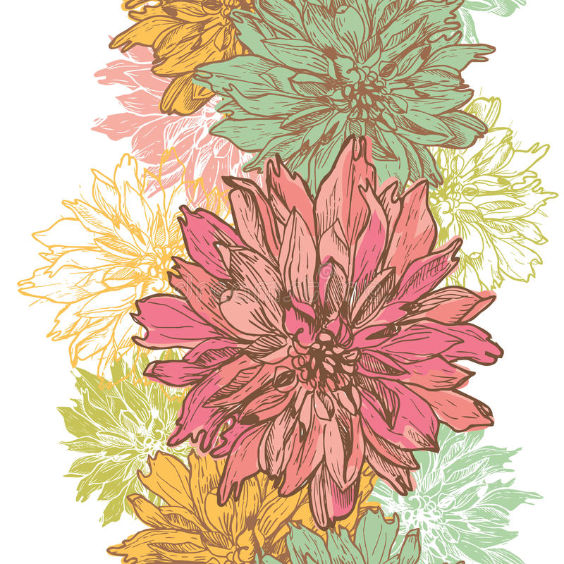 手拉的大丽花开花垂直的无缝的边界 皇族释放例证