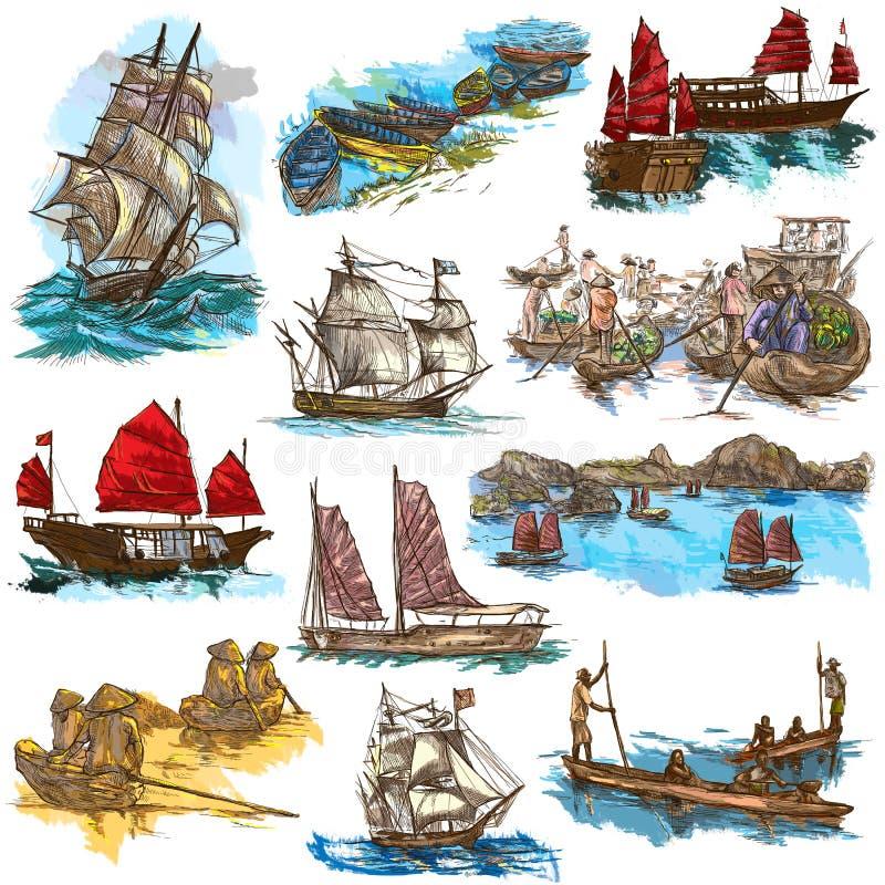 手拉的大型收藏、盒小船和船 是 库存例证