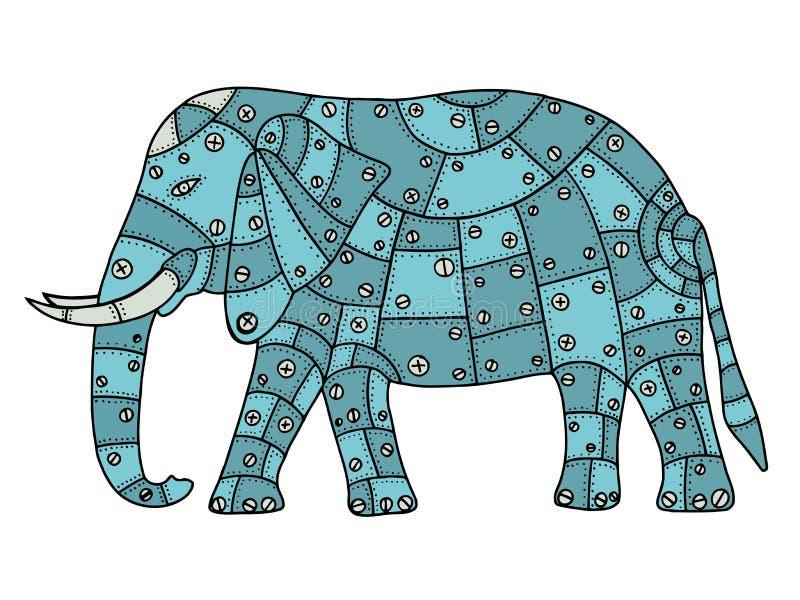 手拉的大象 向量例证