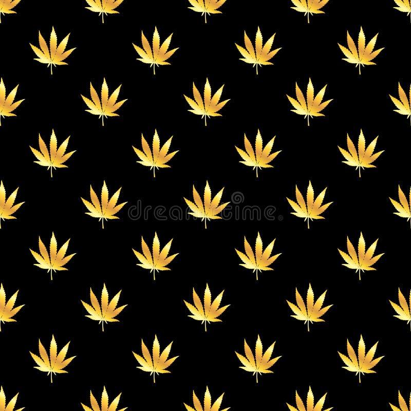 手拉的大麻叶子无缝的样式 向量例证