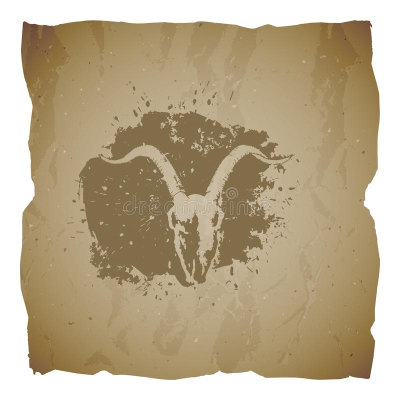手拉的头骨山羊和难看的东西元素的传染媒介例证在老被撕毁的边缘背景的 老纸纹理  ?? 向量例证