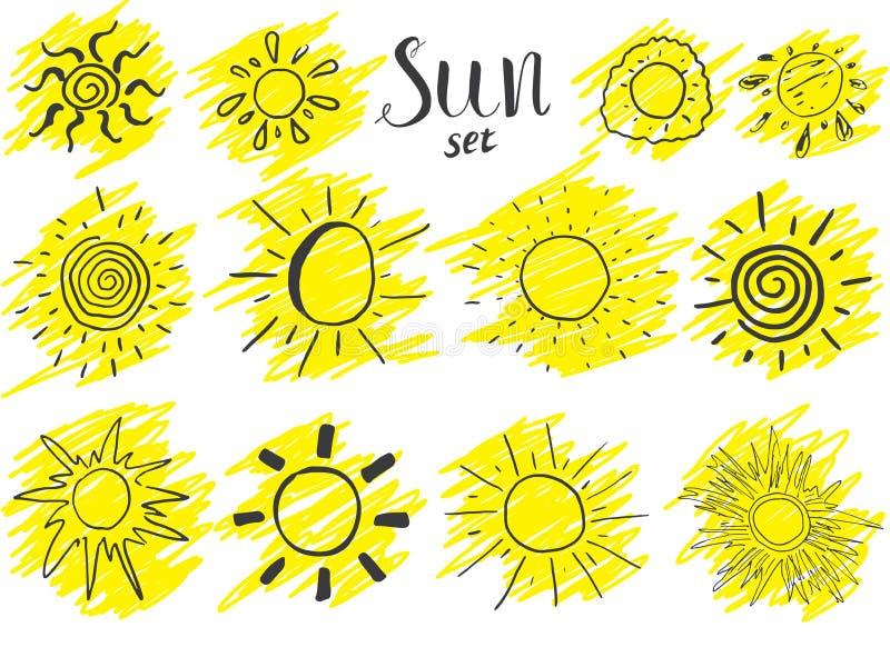 手拉的套不同的太阳,剪影在白色隔绝的传染媒介例证 皇族释放例证