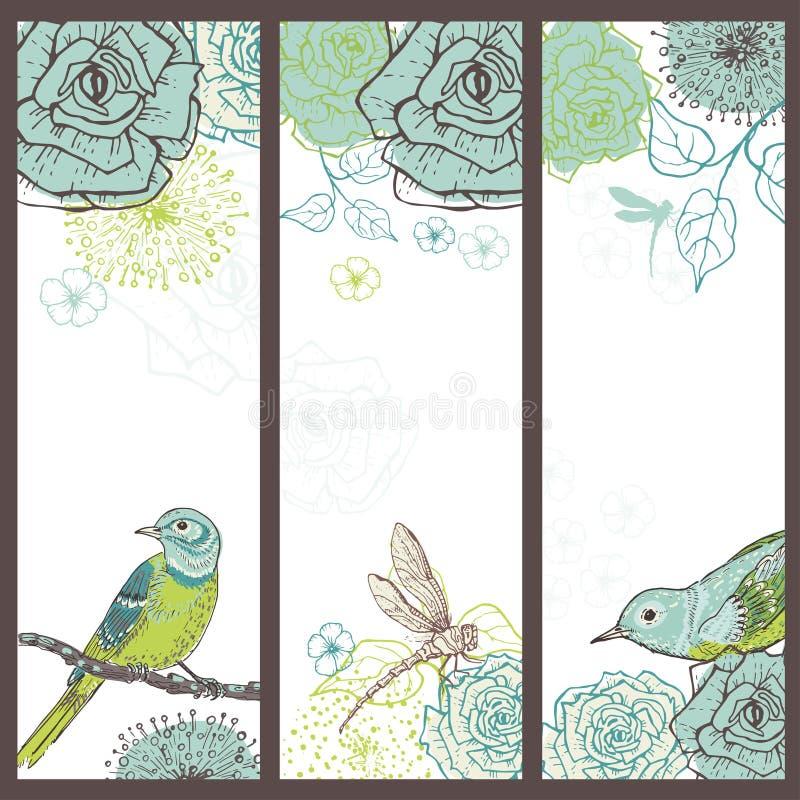 手拉的套与鸟的葡萄酒花卉卡片 向量例证