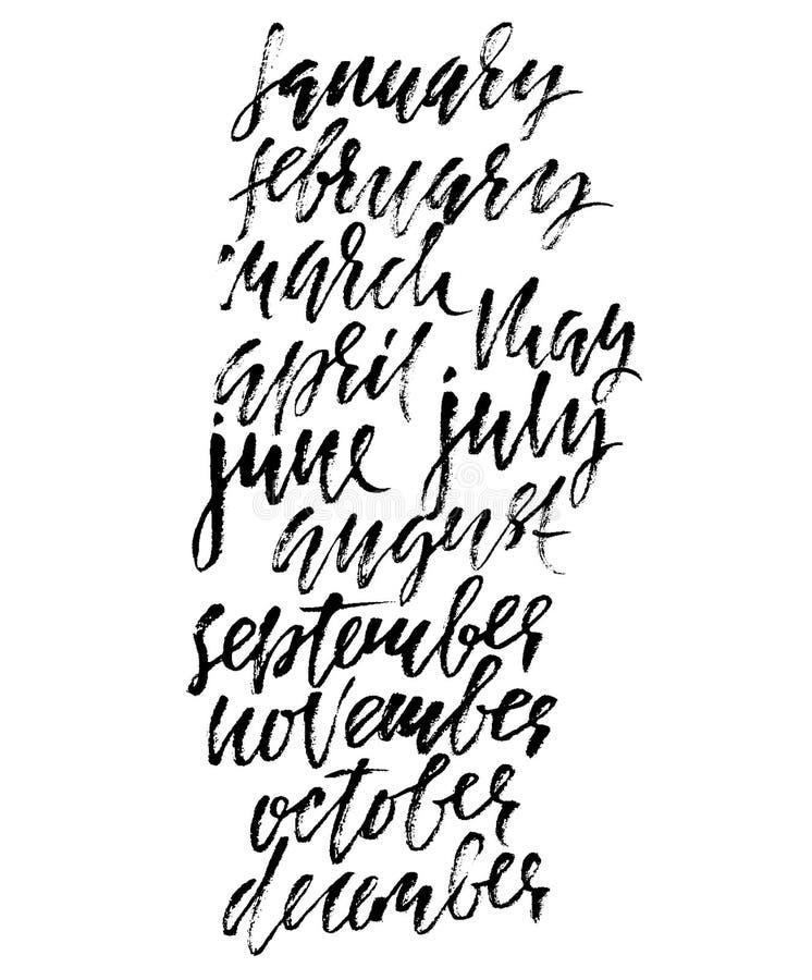 手拉的套几个月 现代烘干刷子字法 月的名字 也corel凹道例证向量 手写的难看的东西题字 向量例证