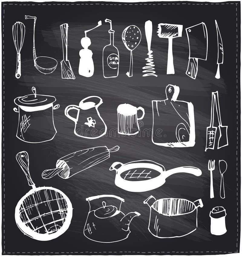手拉的套厨房器物黑板 皇族释放例证