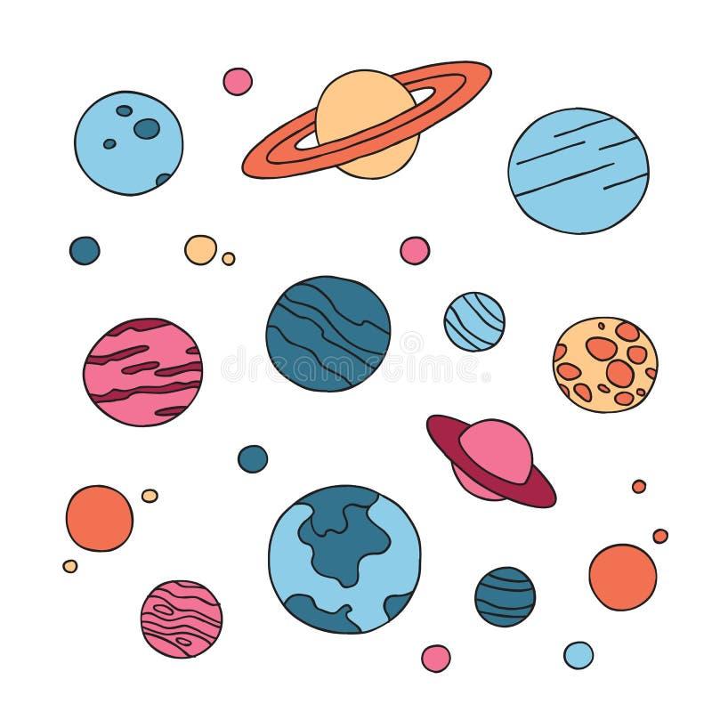 手拉的套在白色背景隔绝的乱画行星 库存例证