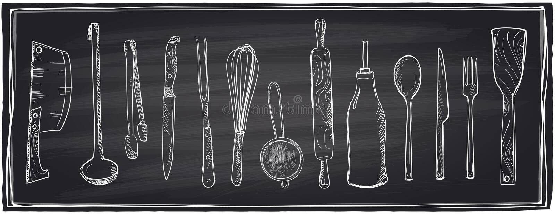 手拉的套在黑板的厨房器物 皇族释放例证