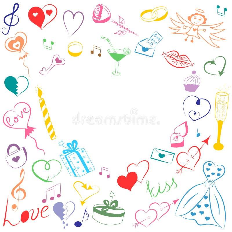 手拉的套情人节标志 五颜六色的心脏、礼物、圆环、气球和蜡烛儿童` s滑稽的乱画图画  库存例证