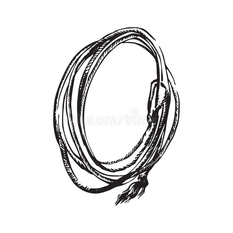 手拉的套索绳索 圈地牛仔扶植传染媒介例证 在白色背景隔绝的黑色 皇族释放例证