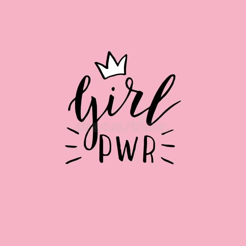 手拉的女孩力量海报 平等概念 向量例证