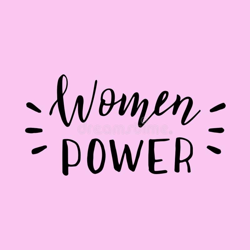 手拉的妇女力量横幅 现代女权口号 在行情上写字 皇族释放例证