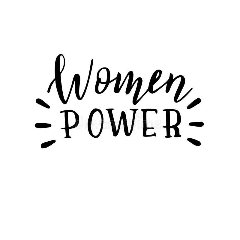 手拉的妇女力量行情 女权在上写字的海报 T恤杉和服装印刷品 库存例证