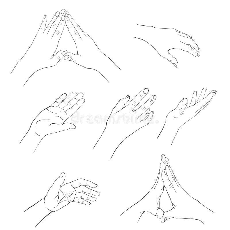 手拉的妇女手 向量例证