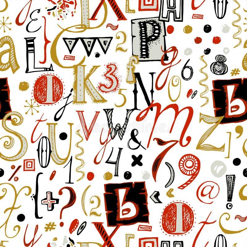 手拉的字体无缝的样式 向量例证