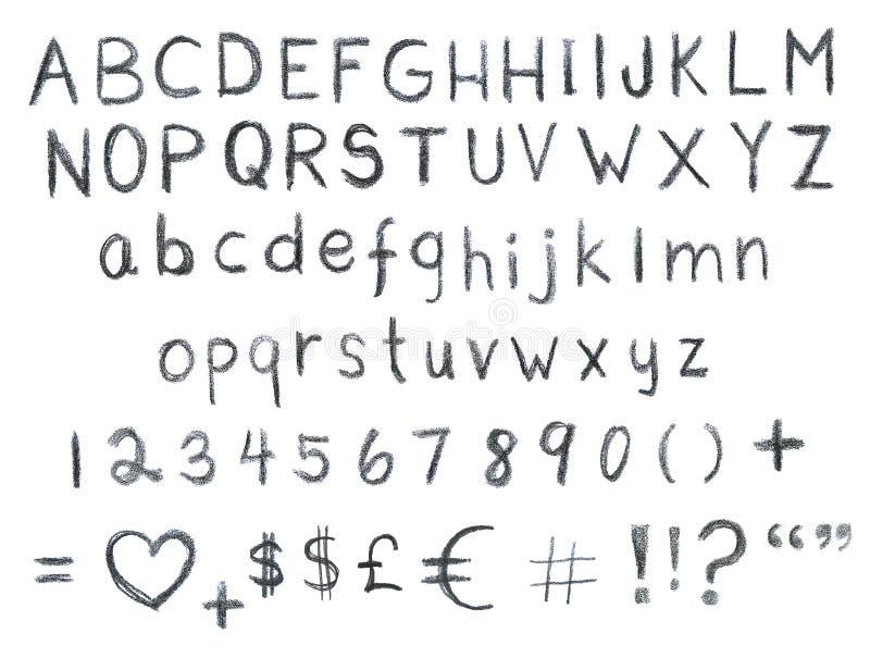 手拉的字体集合 皇族释放例证