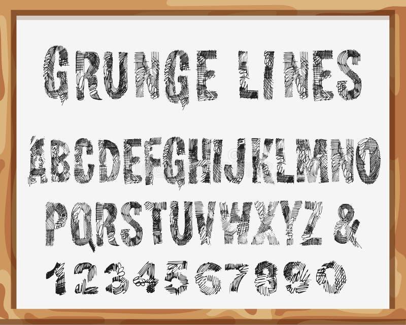 手拉的字体 字母表和数字与难看的东西线和冲程 向量图片