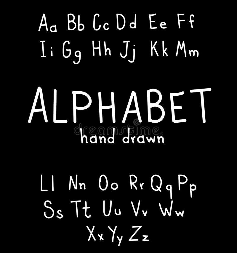 手拉的字体 手写的alphabe样式现代书法 库存例证