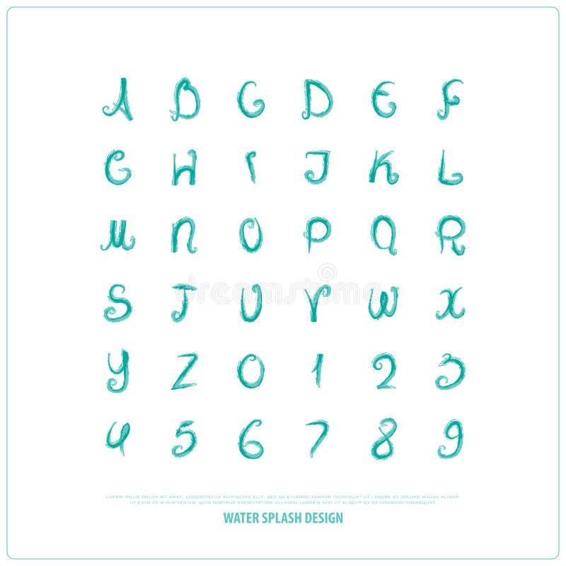 手拉的字母表信件和数字 传染媒介水彩,字体类型 皇族释放例证