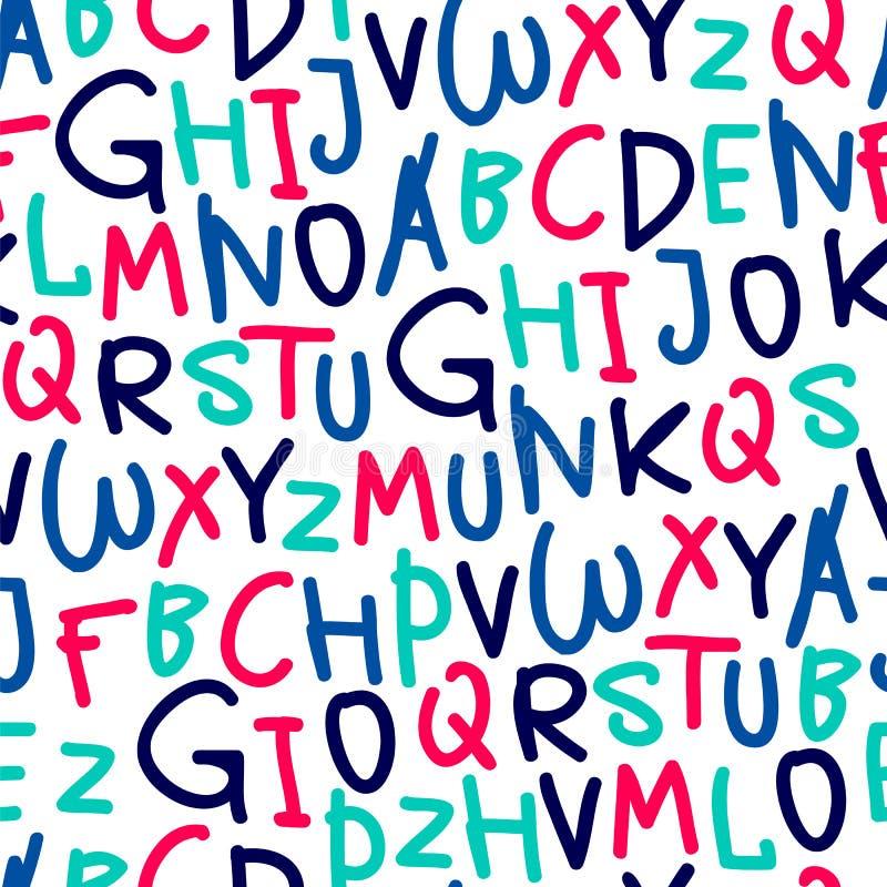 从手拉的字母表的无缝的样式 皇族释放例证