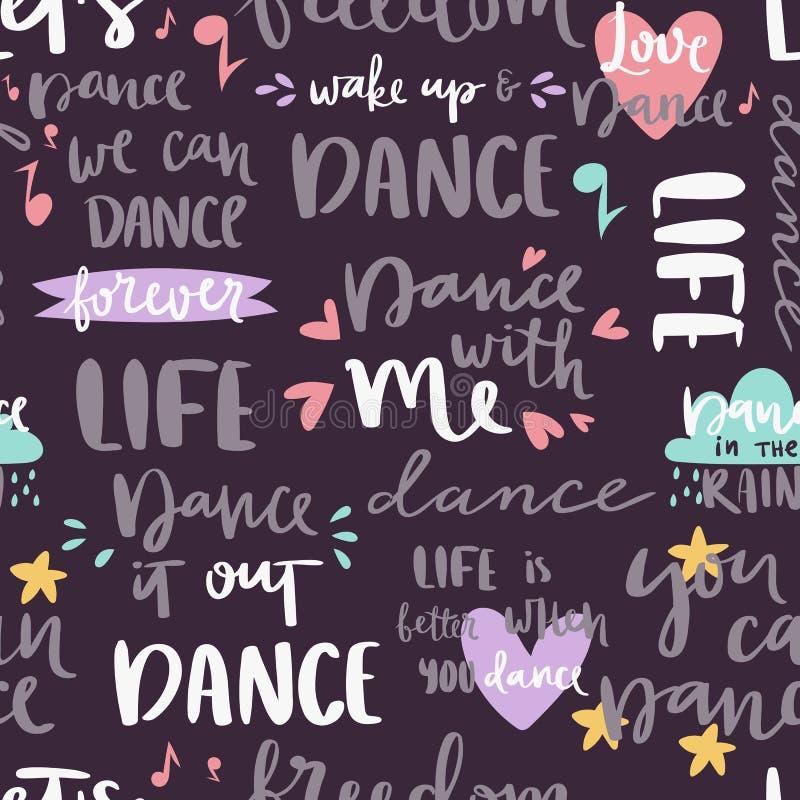 手拉的字法词组无缝的样式和书法为印刷品舞蹈音乐背景刺激词组引述 向量例证