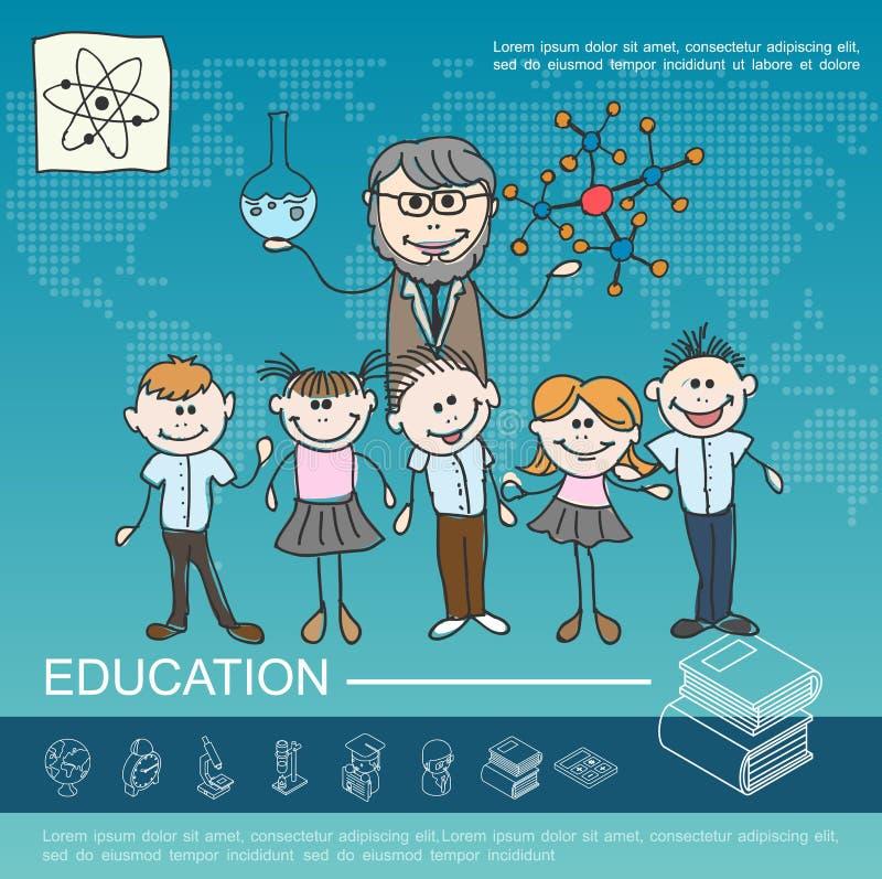 手拉的学校教育模板 向量例证