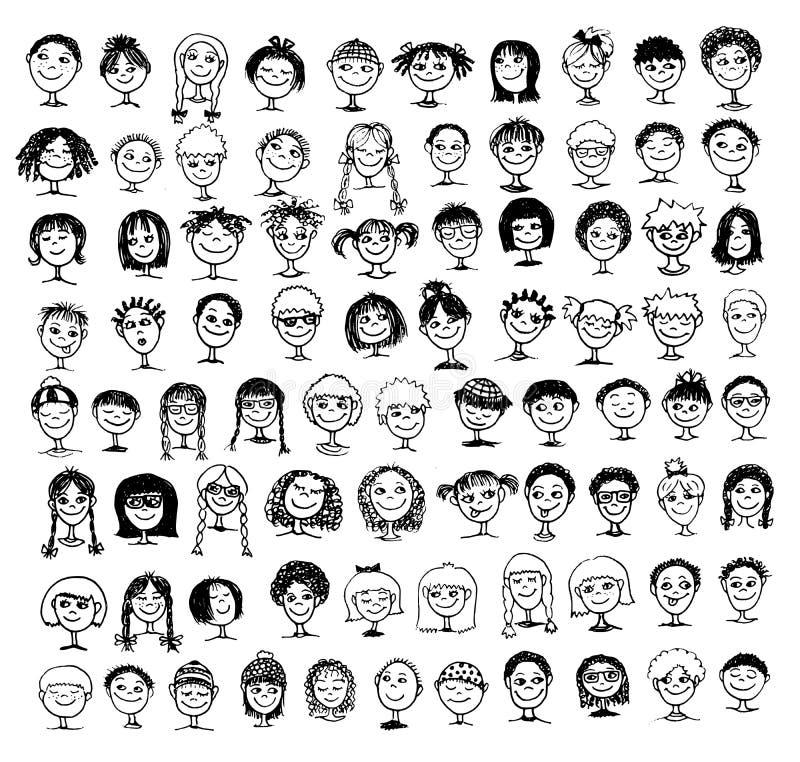 手拉的孩子的面孔的汇集 向量例证