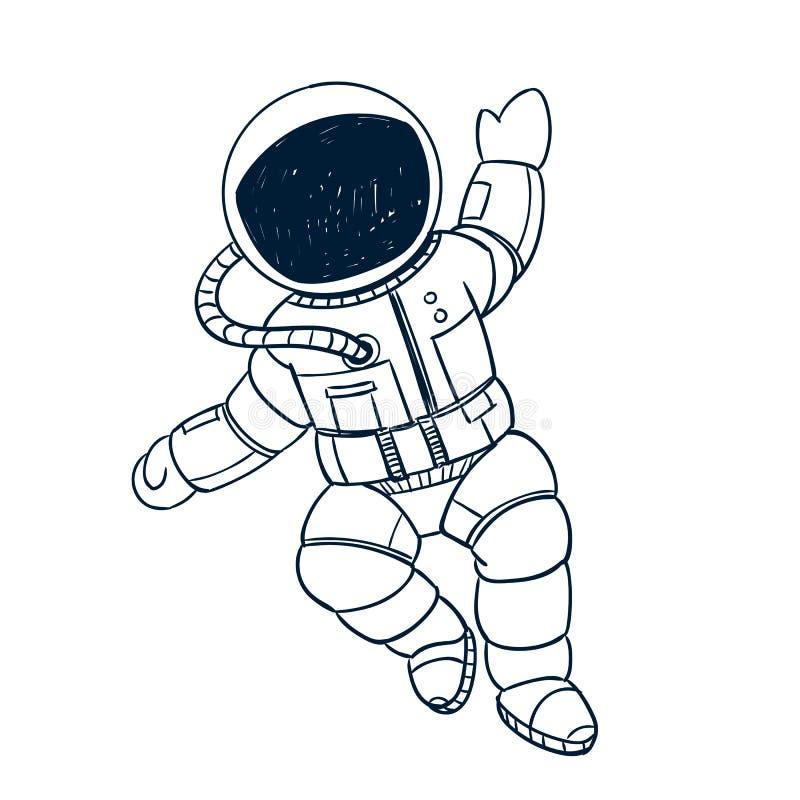 手拉的宇航员乱画 向量例证