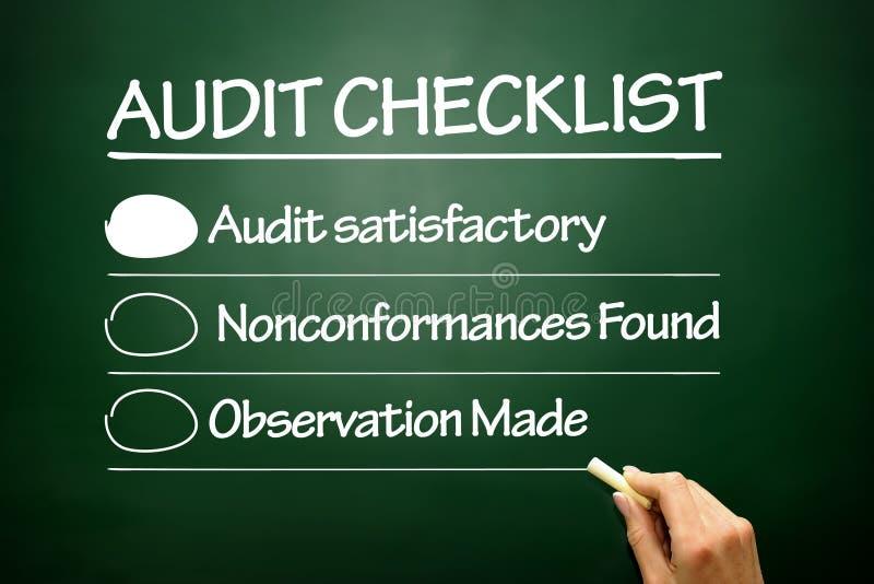 手拉的审计清单,在黑板的企业概念 免版税库存照片