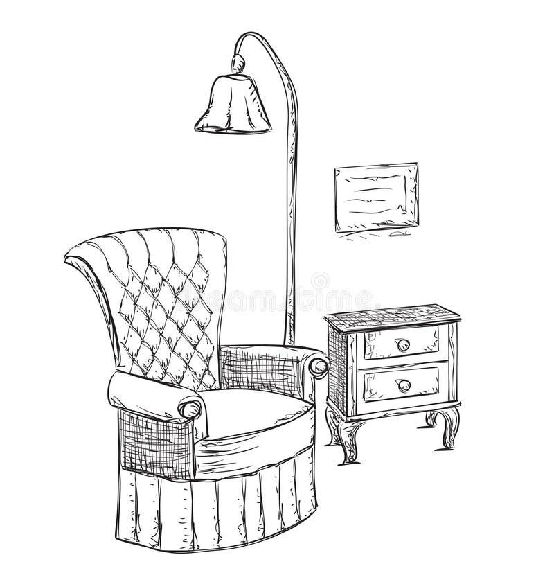 手拉的室内部 读书地方剪影 皇族释放例证