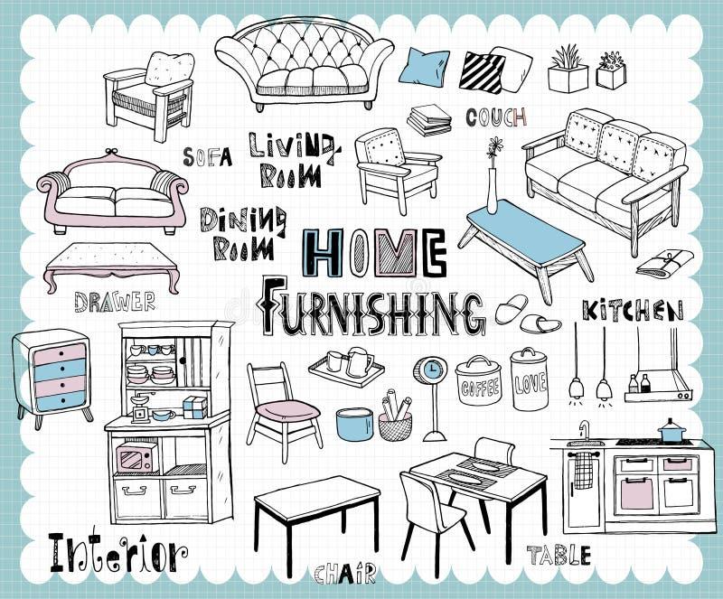 手拉的家具集合用餐的室和客厅 向量例证