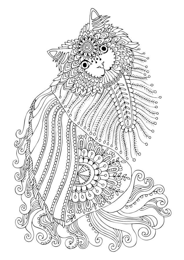 手拉的小猫 反重音着色页的剪影 皇族释放例证