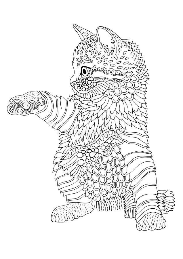 手拉的小猫 反重音着色页的剪影 库存例证