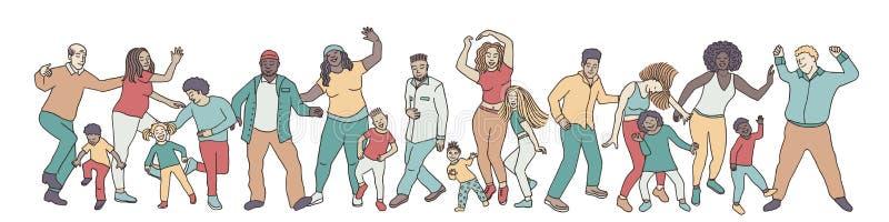 手拉的小组不同的跳舞的人民 库存例证