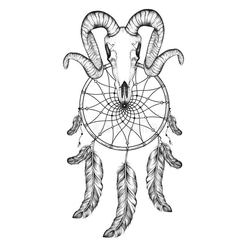dotwork正面公羊,鹿,与梦想俘获器纹身花刺设计的有角的动物 行家纹身