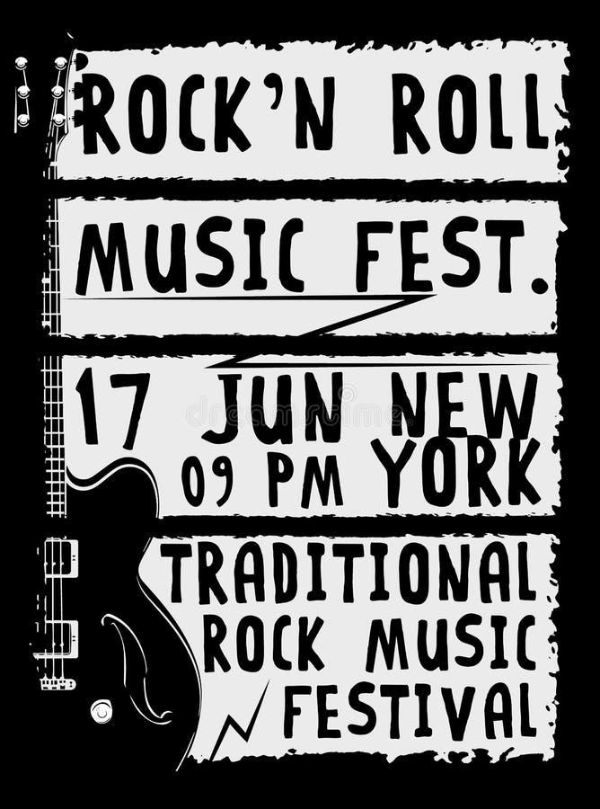 手拉的岩石节日海报 摇滚乐标志 向量例证
